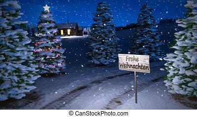 noël, magie, hiver, allemand, render., seamless, scène, arbre., petite maison, animation, boucle, 3d