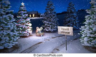 noël, magie, hiver, tchèque, render., seamless, scène, arbre., petite maison, animation, boucle, 3d