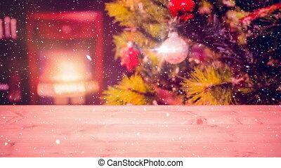 noël, maison, tomber, neige