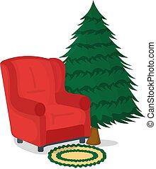 noël, meubles, symbole, vecteur, concept., badge., dessin animé, illustration, table, arrière-plan., fauteuil blanc, chaise, arbre, icône