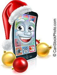 noël, mobile, chapeau, téléphone, cellule, santa, mascotte