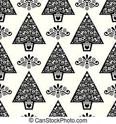 noël, monochrome, fleurs, vecteur, pattern-, oiseaux, scandinave, seamless, flocons neige, art, conception, arbre, folklorique, style