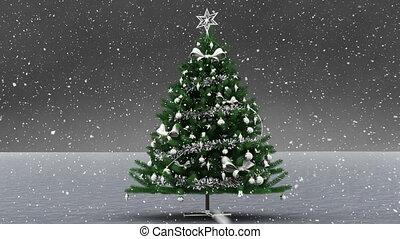 noël, neige, tomber, arbre
