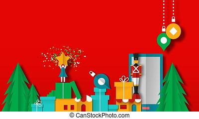 noël, nouveau, jouet, vidéo, noël, année, carte, papercut