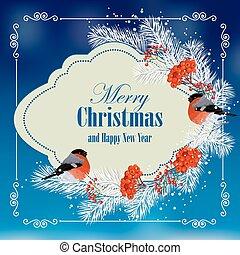 noël nouvelle année, carte voeux