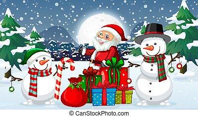noël, nuit, bonhomme de neige, santa