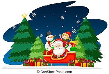 noël, nuit, santa, thème