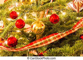 noël ornements, accrocher dessus, a, arbre