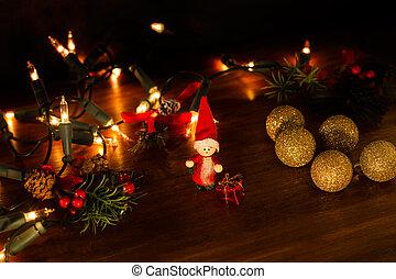 noël ornements, table, bois