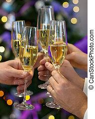 noël, ou, nouvel an, célébration