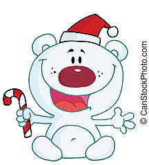 Polaire Noel Ours Ours Blanc Noel Petit Waiving Bonjour