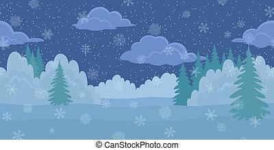 noël, paysage, hiver, nuit, forêt