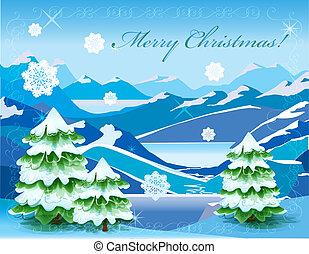 noël, paysage montagne, à, arbre, couvert, à, profond, neige