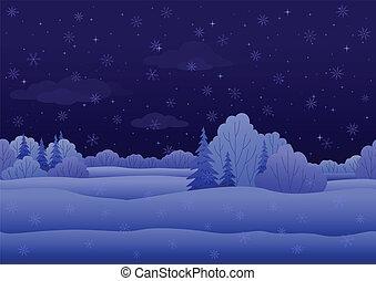noël, paysage, nuit, hiver, forêt