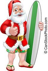 noël, planche surf, dessin animé, surfer, santa