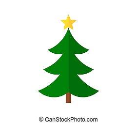 noël, plat, arbre, vert, conception, étoile, icon.