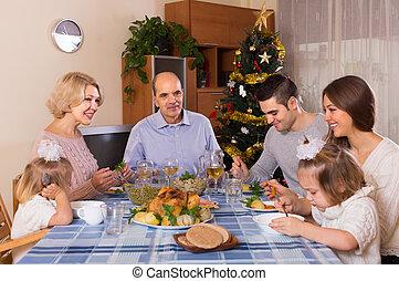 noël, poitrine, célébration famille
