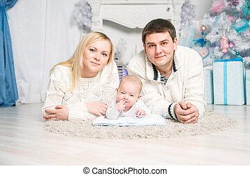 noël., portrait, famille, heureux