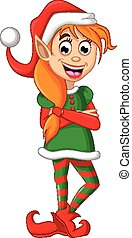noël, poser, elfe