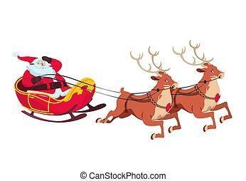 noël, reindeers., santa, isolé, illustration, salutation, vecteur, caractères, traîneau, dessin animé, card.