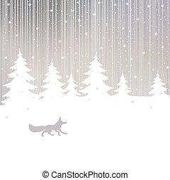 noël, renard, hiver, fond, forêt