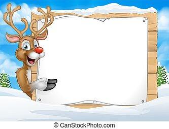noël, renne, dessin animé, fond, signe