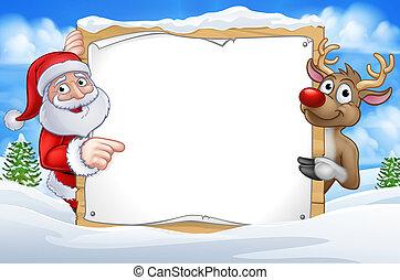 noël, renne, dessin animé, santa, signe