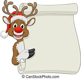 noël, rouleau, chapeau, signe, renne, santa, dessin animé