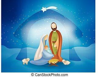 noël, saint, scène famille, jésus, nativité, bébé, sheeps, -joseph, marie