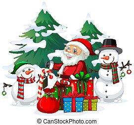 noël, santa, bonhomme de neige, thème