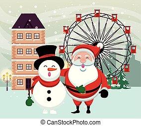 noël scène, bonhomme de neige, snowscape, père noël
