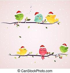 noël scène, coloré, oiseaux