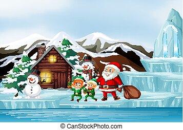 noël scène, elfe, santa