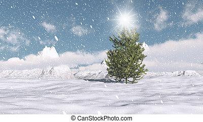 noël, scène hiver