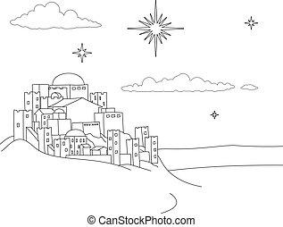 noël scène, nativité, dessin animé, ville, coloration