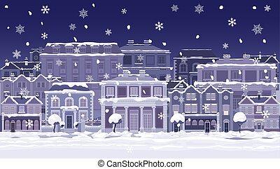 noël, scène nuit, rue, magasins, neige, maisons