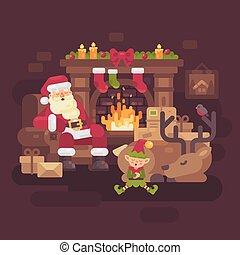 noël, sien, dur, fatigué, claus, elfe, dormir, renne, santa, cheminée, jour, après