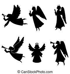 noël, silhouette, ensemble, ange