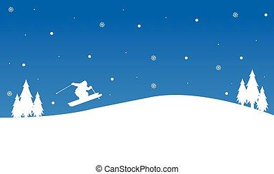 noël, ski, paysage hiver, gens