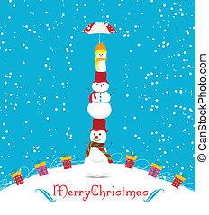 noël, snowmans, joyeux, carte