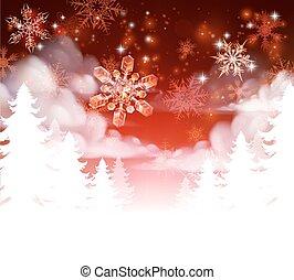 noël, snowscape, scène, arbres, hiver