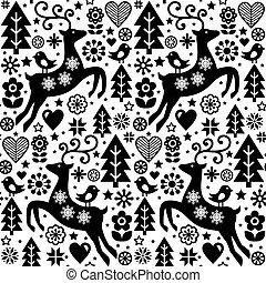 noël, style, renne, seamless, modèle, scandinave, vecteur, conception, blanc, oiseau noir, folklorique