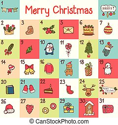 noël, symbols., renard, manchots, venue, cadeau, bonbons, calligraphy., vecteur, caractères, ours, santa, calendrier, vacances, dessin animé