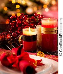noël, table, setting., décorations vacances