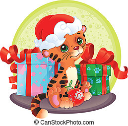 noël, tiger-cub, gifts.