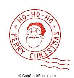 noël, timbre, ho-ho-ho!, joyeux, signe, ou