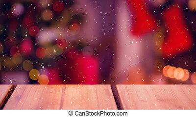 noël, tomber, scène, neige
