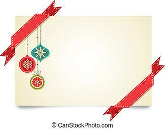 noël, vendange, carte voeux, à, ornements, et, rubans