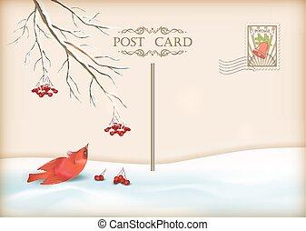 noël, vendange, vacances, vecteur, carte postale