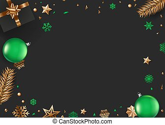 noël, vert, accessoires, or, fond, vecteur